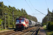 Plecháč 242.223-6 Trans Log Slovakia s Kocúrom ŽOS Zvolen 742.610-9 s vozňami Tagnpps